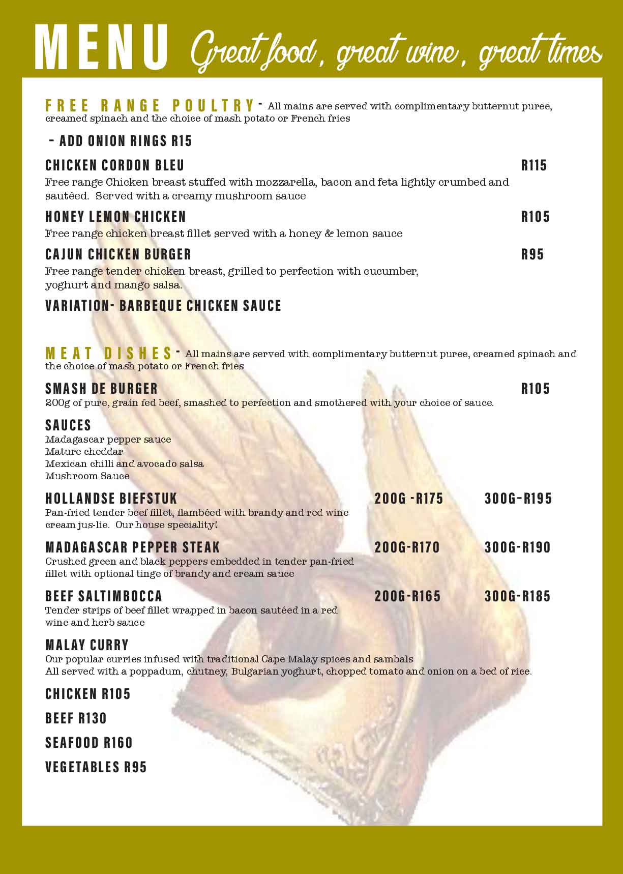 Monkey Valley Resort | Menu Page 3