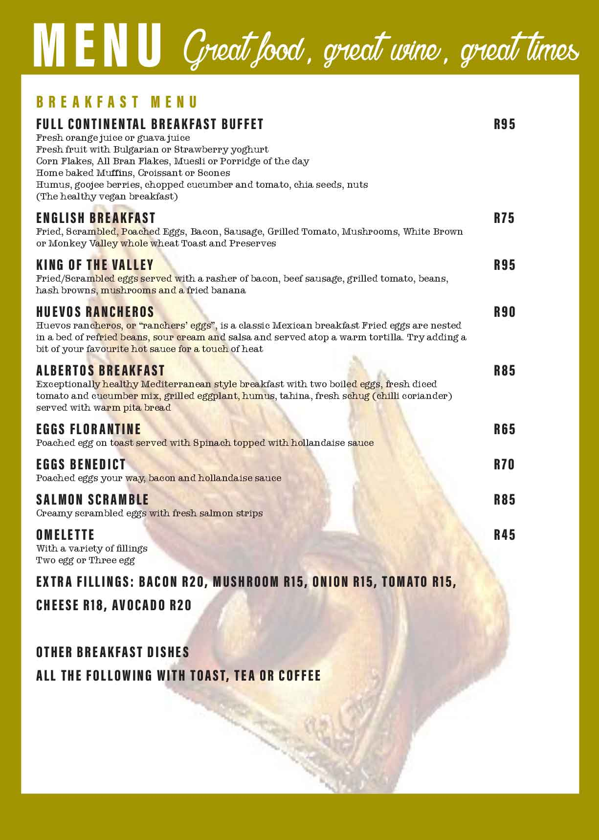 Monkey Valley Resort | Menu Page 7